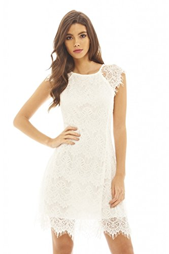 (AX Paris Women's Capped Sleeve Crocheted Lace Dress(Cream, Size:8))