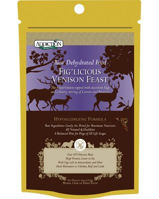 Addiction Raw Dehydrated Grain-Free Dog Food, Fig'licious Venison Feast, 4oz, My Pet Supplies