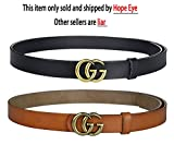 "Fashion G-Style Gold Buckle Unisex Cowhide Leather Belt Vintage Thin Dress Belts For Jeans(BlackBrown-1.1"")"