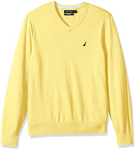 - Nautica Men's Long Sleeve Solid Classic V-Neck Sweater, Yellow Corn XX-Large