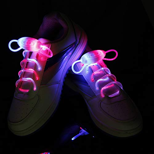 Suncentech Luminous Shoelaces 2 Pairs Switchable LED Light Up Shoestring Glowing Shoe Laces, Novelty Party Dress Decor (Multicolor)]()