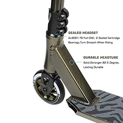 VOKUL Complete Pro Scooter for Kids Boys Girls Teens Adults Up 7 Years - Freestyle Tricks Pro Stunt Scooter with 110mm Metal Wheels - High Performance Gift for Skatepark Street Tricks by Vokul