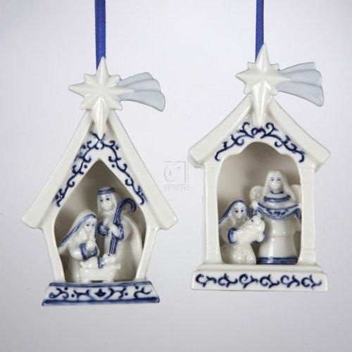 "4"" Porcelain Delft Blue Holy Family Ornament 2 Assorted"