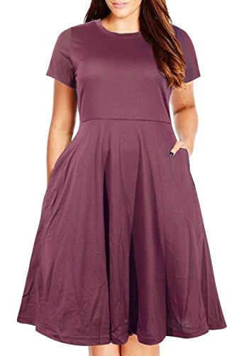 Nemidor Women's Round Neck Summer Casual Plus Size Fit and Flare Midi Dress with Pocket (Purple, 22W)