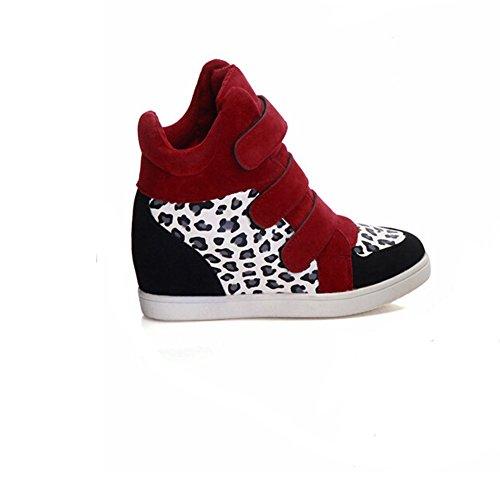 Angelliu Womens Nubuck Leather Inside Heighten Sports Shoes Red Leopard IHaPU9
