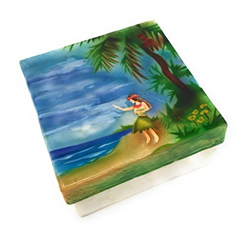 Kubla Craft Hawaiian Hula Dancer on Beach Capiz Shell Keepsake Box, 4 Inches Square