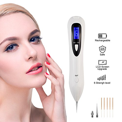 Mole Removal Pen for Body Facial Freckle Nevus Warts Age Spot Tattoo Remover Beauty SkinMachine with LCD Display Perfect for Removing Skin Tag By Crazysound (White)