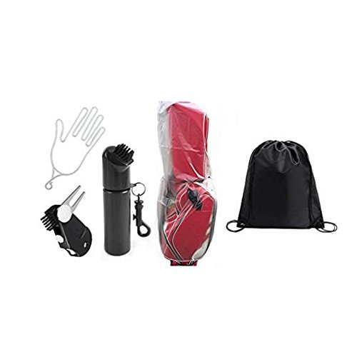 IDS Home POSMA Rain Cover Golf Bag Bundle Set with Golf Divot Repair, Wet Scrub Cleaning Brush by IDS Home
