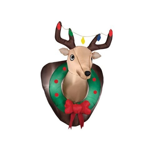 Amazon.com: Gemmy Airblown Inflatable Hanging Mounted Reindeer Head With  Christmas Lights And Wreath   Indoor Outdoor Holiday Decoration: Arts, ...