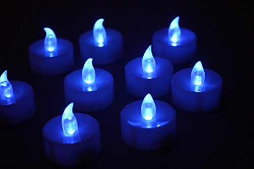 12 Flameless Candles - Blue Flameless LED Frosted Flickering Tealight Candles Battery Powered Smokeless and Give Off No Heat, Button Batteries (Halloween Tea Light Holder)
