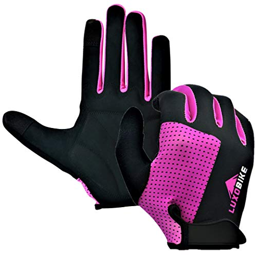 LuxoBike Cycling Gloves MTB Mountain Bike Gloves Biking Gloves Men Women Road Bicycle Bicycling BMX - Breathable Antiskid Shock Absorbing Pad - Touch Recognition Full Finger Glove