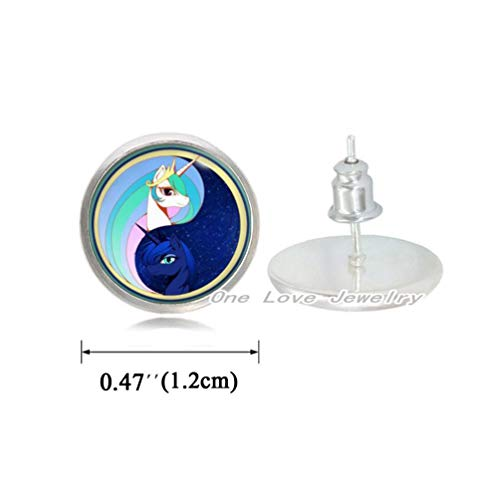 Ni36uo0qitian0ozaap Pony Stud Earrings,Day and Night Earrings,Unicorn Stud Earrings Fan Gifts,for Her,for him,TAP333