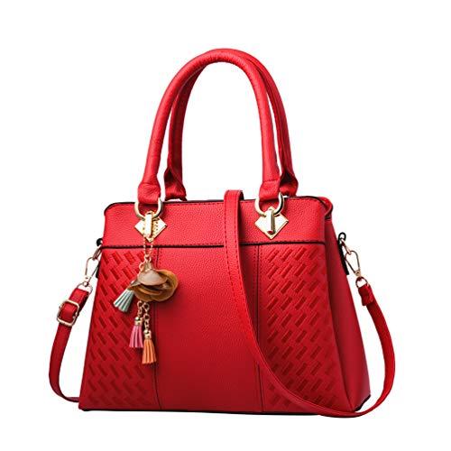 YAANCUN Womens Tote Crossbody Bags Handbags Shoulder Bags Travel PU Leather Tote Handbag Red