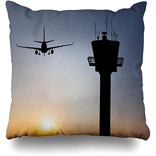 Throw Pillow Cover Square 18x18 Inch Amsterdam Orange Traffic Control Tower Red Landing Air Airport Plane Aviation Flight Departure Zippered Cushion Pillow Case Home Decor Pillowcase