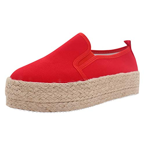 〓COOlCCI〓Women Fashion Sneakers,Classic Canvas Espadrilles Slip on Flats Comfortable Walking Sports Casual Shoes Loafers Red (Timberland Women Loafer)