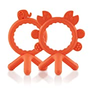 Baby Teething Toy,Bestwin Bendable & Freezer friendly Silicone Baby Teether . BPA & Phthalates Free,Natural Organic Infant Teether .(2 PACK)- Orange
