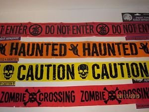 Halloween Haunted House Props Homemade (Caution Zombie Crossing Tape Keep Out Haunted House Set of 4 Halloween Spider Web Spiders Creepy Scary Harvest Decor Decoration Decorations Tape)
