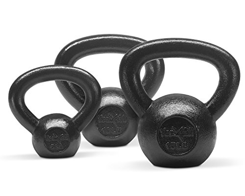 Yes4All  Combo Cast Iron Kettlebell Weight Sets – Great for Full Body Workout and Strength Training – Kettlebells 5 10 15 lbs (Black)