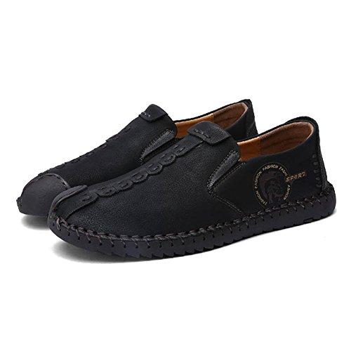 Hibote Chaussures de Sport en Cuir Pour Hommes Style Britannique Slip On/Lace-Up Mode Décontracté en Cuir Plat Mocassins Chaussures Low-Top Sneakers Pantoufles Taille 38-44