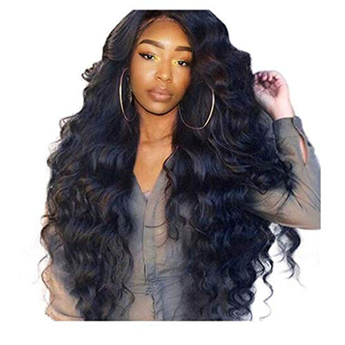 Sapienc Brazilian Remy Human Hair Body Wave Lace Front Human Hair Wigs Ship from The US (Black) -