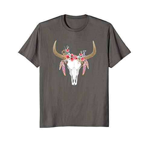 Floral Cow Skull with Feathers T Shirt - Bull Skull Shirt +
