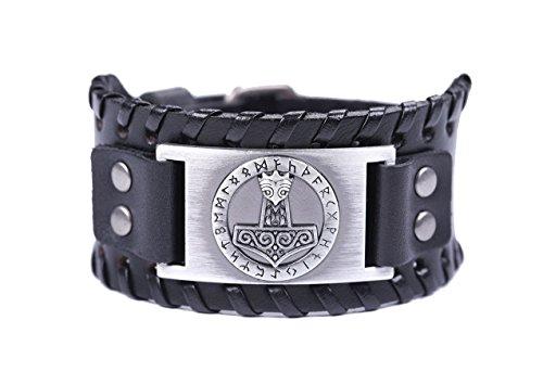 VASSAGO Vintage Norse Myth Thor's Hammer Viking Runes Celtic Knot Talisman Metal Leather Belt Buckle Bracelet (Black Leather, Antique Silver)