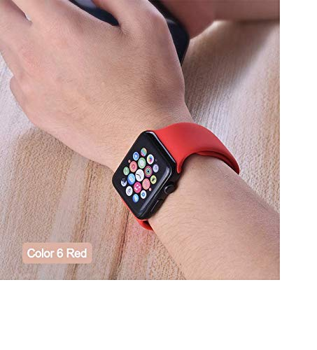 Soft Silicone Sports Band Luxury for Apple Watch 4 3 2 1 38mm 42mm Bands Rubber Watch Band Strap for Apple Watch Series 4 40mm 44mm (Red, 42mm or 44MM M L) ()