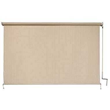 Coolaroo Outback Exterior Roller Shade, Natural Fabric,  Cordless Roller Shade with 80% UV Protection, (10' X 6') with No Valance, Sesame