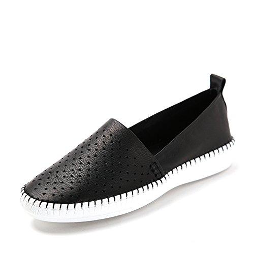 Primavera zapatos calados de aire/Fija los pies zapatos/Zapatos de comodidad plana mujer Negro