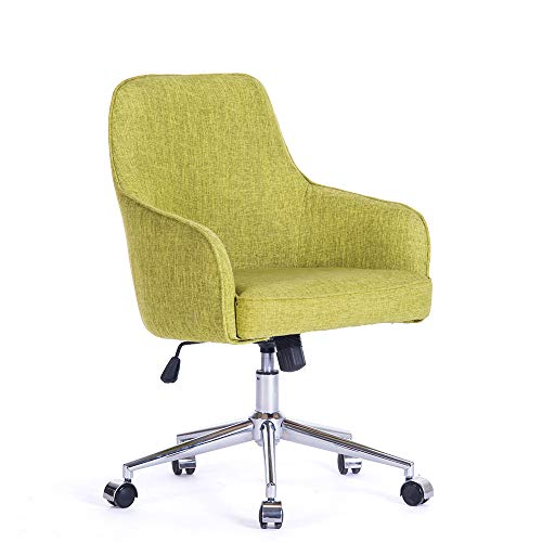 (Home Office Swivel Desk Chair Upholstered Fabric Task Chair, Metal Base w/z Casters, Adjustable Height Tilt Control Armchair Couch Seat Office or Living or Conference Room Beauty Nail Salon Spa)