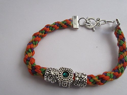 Handmade Bracelet with Orange and green Kumihimo cord and Crystal Charm Weaved Friendship Bracelet