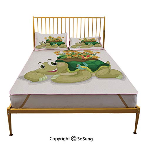 Reptile Creative King Size Summer Cool Mat,Funny Floral Turtle Talking with Colorful Humming Birds Tortoise Ninja Home Decoration Sleeping & Play Cool -