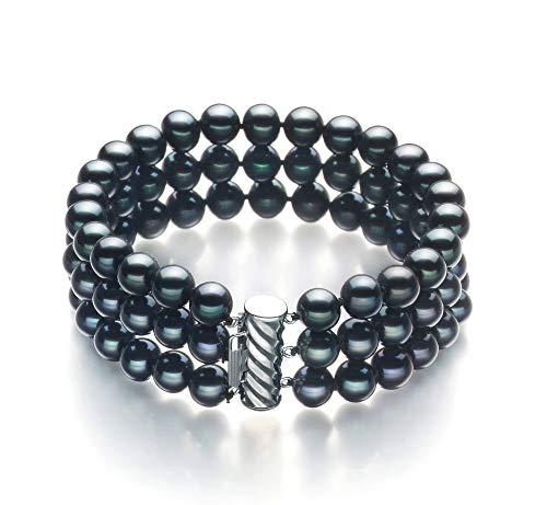 Medina Black 6-7mm Tripple Strand AA Quality Freshwater Cultured Pearl Bracelet for Women-7 in Length