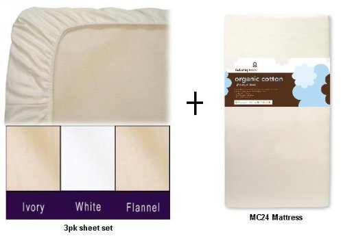 Naturepedic MC24 No Compromise Organic Cotton Classic Lightweight Crib Mattress WITH 3pk Organic Crib Sheets (Ivory 3pk Sheets) Naturepedic Organic Cotton Flannel