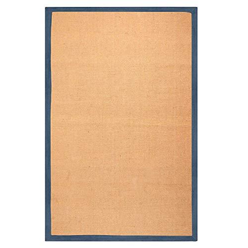 Jute Border Rug (Superior Hand Woven Classic Jute Area Rug, 8' x 10', Navy Blue)