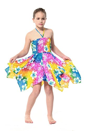 Girl Gypsy Uneven Button Hawaiian Luau Dress in Rainbow Floral