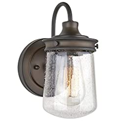 Farmhouse Wall Sconces Kira Home Mason 10″ Industrial Farmhouse Wall Sconce/Light, Seeded Glass Shade, Dimmable, Oil Rubbed Bronze Finish farmhouse wall sconces