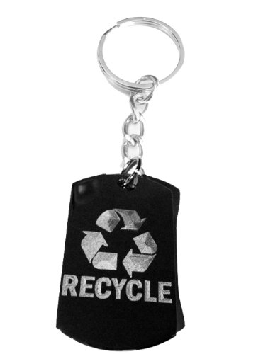 Reduce Recycle Reuse Save Mother Earth Logo Symbols - Metal Ring Key Chain Keychain