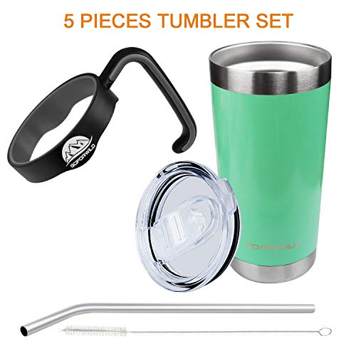 20OZ Tumbler Set Coffee Mug Stainless Steel Vacuum Insulated Double Wall Travel Mug with Lid, Straw, Handle, Coffee Cup for Hot & Cold Drink, by ()