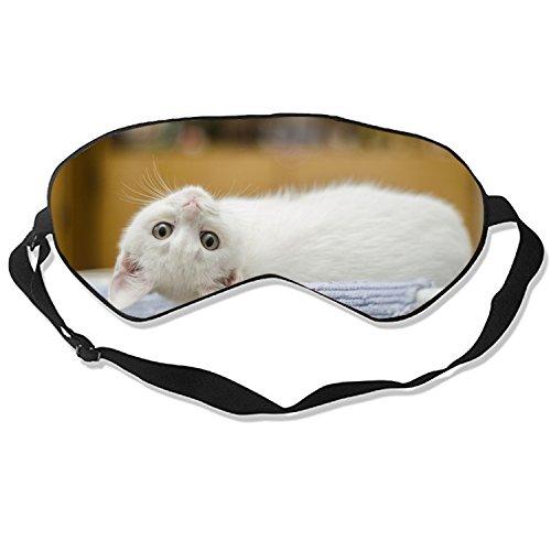Endearing Kitty Sleep Mask Mulberry Silk Eye Masks Blinder with Adjustable Strap for Men Women
