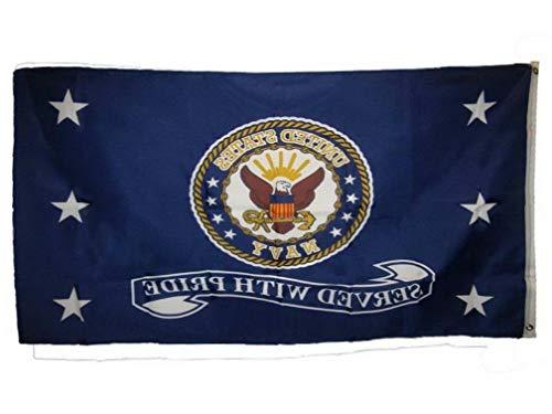 Hebel US Navy Served with Pride Flag 3x5 ft USN Vet Veteran Retired United States Navy   Model FLG - 18