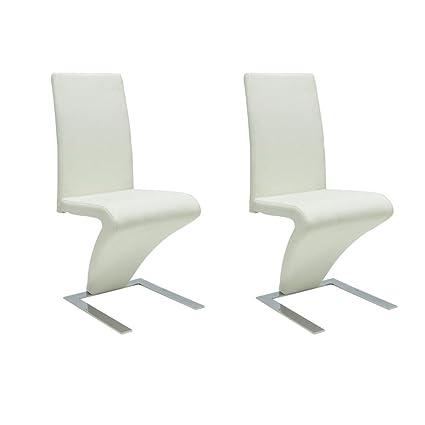 Sedie moderne design set da 2 sedie ecopelle bianche: Amazon.it ...