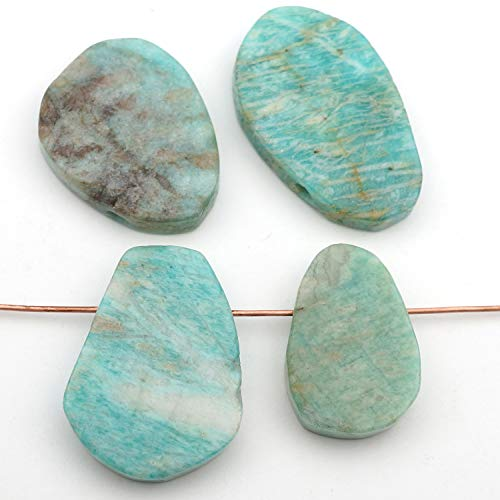 4 Pcs Top Drilled Flat Blue Green Russian Amazonite Teardrop Beads Assorted Size (Drilled Teardrop Green)