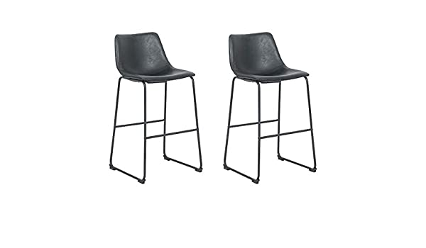 Bar Stool Take Me Home Furniture TMH-NEKS-11 Burson Armless Stool Set of 2 Black 26H Faux Leather with Black Metal Legs