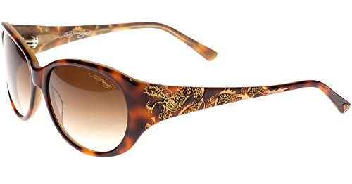 Ed Hardy Big Dragon Gradient 58 16 135 Sunglasses, Tortoise Brown