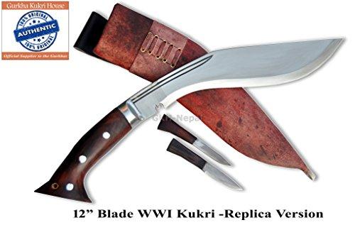 Authentic Gurkha Kukri Knife – 12 Blade WWI Historical Kukri with Brown/Red Leather sheath-Handmade by Gurkha Kukri House in Nepal- Warehoused  Ship…
