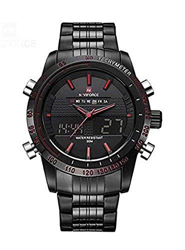 Naviforce Sports Stainless Steel Multifunctional Digital Chronograph Dual Display Watch for Men NF9024 Black