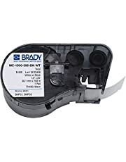 """Brady-143386 High Adhesion Vinyl Label Tape (MC-1500-595-BK-WT) - White on Black Vinyl Film - Compatible with BMP51 and BMP53 Label Printers - 25' Length, 1.5"""" Width"""