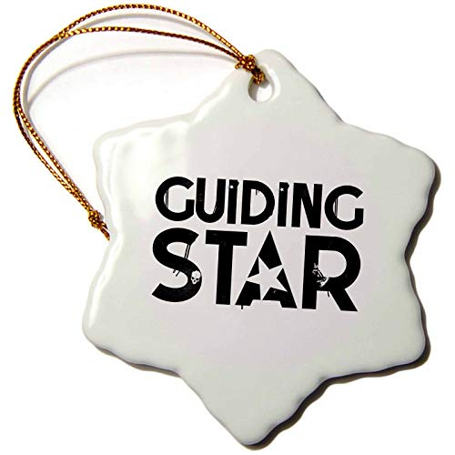 (3dRose Alexis Design - Typography Rock Star - Decorative Text Guiding Star. Minimalist Typography Design on White - 3 inch Snowflake Porcelain Ornament)