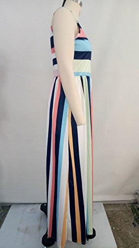 sans Clair Femmes Robe Rond t de Robes Fte de Manche Col Raye Fashion Maxi Soire Robe Plage Bleu wqTxwnAX